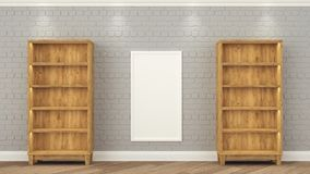 Wooden racks stand at the gray brick wall. between them weighs a frame with a white background. Empty shelves 3d render royalty free stock images