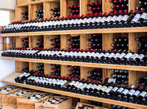 Wooden racks with wine Royalty Free Stock Photography