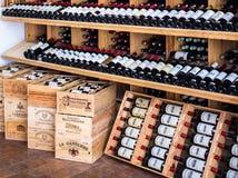 wooden racks with wine Stock Photo