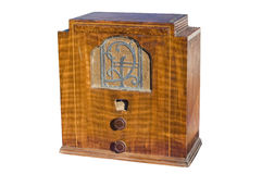 Wooden radio. Classic wooden radio from the early 2oth century clipping path Stock Images