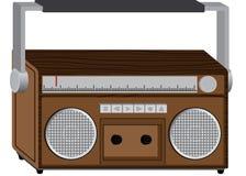 Wooden radio. Illustration of wooden radio.Retro style stock illustration