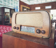 Wooden radio on table Retro style home decoration Royalty Free Stock Images