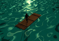 Wooden raft. Illustration of wooden raft in the sea Stock Photo