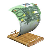 Wooden raft. With a sail from a euro Royalty Free Stock Photography