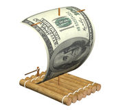 Wooden raft. With a sail from a dollar Royalty Free Stock Photo