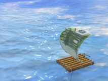 Wooden raft. With a sail from a euro Stock Photo