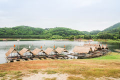 Wooden raft and reservoir Stock Image