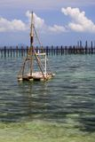 Wooden Raft at Sea Stock Photography