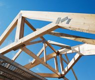 Wooden rafters. Against the blue sky royalty free stock photo