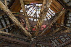Wooden rafters and steel beams Royalty Free Stock Images