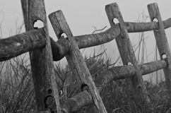 Wooden Rail Fence on a Foggy Spring Morning Royalty Free Stock Image