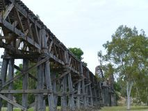 The wooden rail viaduct in Gundagai royalty free stock photos