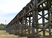 The wooden rail viaduct in Gundagai royalty free stock photography