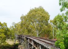 The wooden rail viaduct in Gundagai stock image