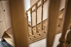 Free Wooden Railing Of An Luxury Antique Staircase, Woodwork Elements Macro Photograpy, Retro Design Beautiful Interior Of A Royalty Free Stock Image - 191536786