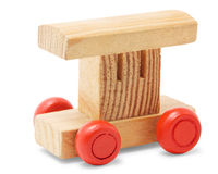 Wooden railroad car toy Royalty Free Stock Photo