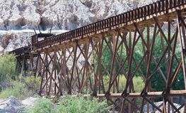 Wooden railroad trestle for the use of copper ore transport stock image