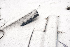 Wooden railway sleepers covered in snow Stock Image