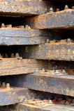 Wooden railway sleepers Stock Photos