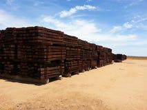 Wooden Timber railway sleepers stockpile Stock Photos