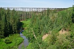 Wooden Railway trestle crossing small creek Stock Photography