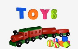 Wooden railway with wagons. Royalty Free Stock Photos