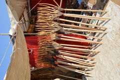 Wooden rakes for sale. Handmade wooden rakes for sale in desert market stall Stock Photo