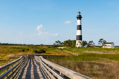 Wooden Ramp Over Marshland at Bodie Island Lighthouse stock photo