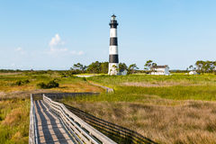 Wooden Ramp Over Marshland Leading to Bodie Island Lighthouse royalty free stock images