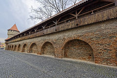 Wooden Ramparts Of The Fortress Wall And Tower Sibiu Romania Royalty Free Stock Image