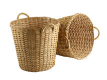 Wooden rattan baskets Stock Image