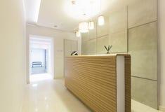 Wooden reception desk in spa center Stock Photos