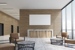 Wooden reception in furnished lobby, poster. Wooden reception counter is standing in a furnished office lobby with armchairs and coffee tables. 3d rendering Stock Photography