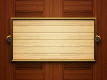 Wooden rectangle doorplate Stock Photos