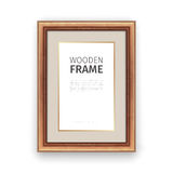 Wooden Rectangle Frame with Gold Royalty Free Stock Images