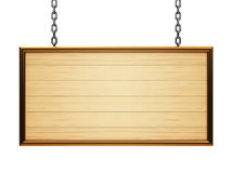 Wooden rectangle signboard on chain Royalty Free Stock Image