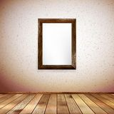 Wooden rectangular 3d photo frame. EPS 10 Stock Photo