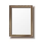 Wooden rectangular photo frame Royalty Free Stock Photography