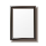Wooden rectangular photo frame. With shadow. Vector illustration Royalty Free Stock Image