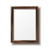 Wooden rectangular photo frame Royalty Free Stock Photo