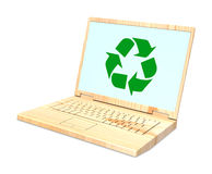 Wooden recyclable laptop isolated over white. Royalty Free Stock Photos