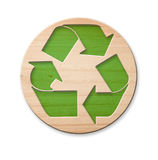 Wooden Recycle Icon, Isolated. Royalty Free Stock Photography