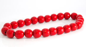Wooden red beads Stock Images