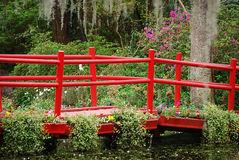 The wooden red bridge in the springtime at the Magnolia Plantation and Gardens. Stock Photos