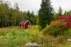 Wooden red cottage houses in Sweden. Wooden red cottage houses in scenery of Sweden Stock Photography