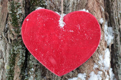 Wooden red heart against the background of texture of a tree Royalty Free Stock Photo