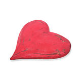 Wooden red heart isolated on white Royalty Free Stock Image