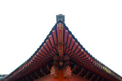 Wooden red roof in traditional chinese pavillion. In Po Lin Monastery, Hong Kong Royalty Free Stock Photography