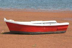 Wooden Red Row Boat stock images
