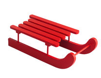 Wooden red sled. Isolated on white background Royalty Free Stock Photo